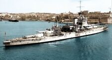 ROYAL NAVY QUEEN ELIZABETH CLASS BATTLESHIP HMS WARSPITE AT MALTA IN 1938
