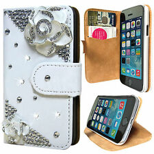 NEW 3D BLING DIAMOND LEATHER WALLET FLIP CASE COVER FOR APPLE iPHONE 4 / 4S,
