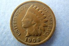 INDIAN HEAD CENT, 1906 Vintage U.S. INDIAN HEAD BRONZE PENNY, Fine Circulated