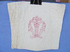 Antique Redwork Victorian era 1 Unique design Crest Embroidered Quilt Block