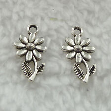 Free Ship 560 pieces tibet silver flower charms 19x10mm #351