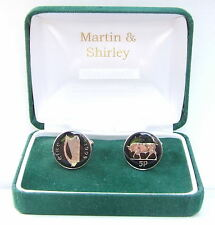 1995 Ireland cufflinks Old Irish 5p coins in Black & Silver