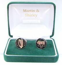 1995 Ireland cufflinks Old Irish 5p coins in Black & Silver
