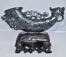 """7.3"""" Chinese A Grade Carved Gray JADEITE Jade Dragon Libation Cup & Stand"""