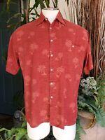 Pierre Cardin Men's Hawaiian Red Short Sleeve Button Front Shirt Size M -202528