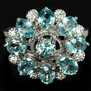 GENUINE AAA SEAFOAM BLUE ZIRCON & WHITE CZ STERLING 925 SILVER FLOWER RING 8.5