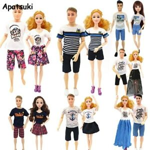 2sets Couple Lover Outfits for Barbie Doll Clothes for Ken Boy Dolls 1/6 Shirts