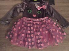 Baby Girls Halloween Pretty Pink & Grey 3 PCE Cat Fancy Dress Up/costume 9-12m