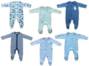 Ex Mothercare Babies Boy's Baby Boy Babygrow Toddler Cotton Button Sleepsuit
