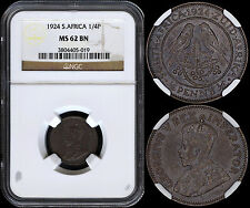 SOUTH AFRICA FARTHING 1924 (NGC MS62BN) *ONLY 95,000 MINTED*