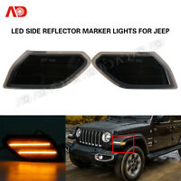 2PCS Amber LED Side Marker Light Smoked Lens Front For Jeep Wrangler 2018-2020
