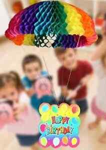 Honeycomb Hanging Parachute Birthday Decoration ~ Multicoloured ~ 38cm Wide.