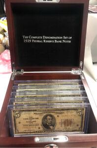 1929 Denomination Set $100 $50 $20 $10 $5 PCS Stamps Coins Wood Box $895 Retail