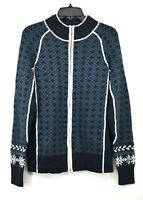 Cabelas Womens Blue White Mock Neck Long Sleeve Wool Jacquard Sweater Jacket L