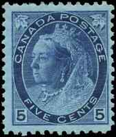Canada #79 mint F-VF OG HR 1899 Queen Victoria 5c blue Numeral CV$225.00