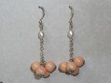 Vintage Sterling Earrings, 7.5mm Coral Beads, Konder #1083