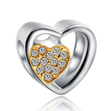 Love 925 Silver white CZ Charm Beads Fit sterling Bracelet Necklace Chain #F289