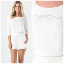 BEBE IVORY LOGO RUCHED CRYSTAL ROMPER JUMPSUIT NEW NWT SMALL S