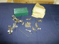 Vintage Greist Rotary Sewing Machine Attachment Binder Narrow Hemmer Lot of 13