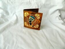 Egyptian Camel Leather Boy Wallet Pharaoh Queen Nefertiti Design # 16