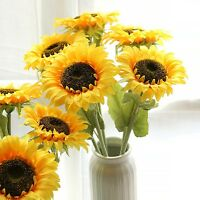 Sunflower Fake Silk Flower Floral Single Stem Bouquet  Home Decor Artifical