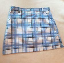 New Izod Ladies White & Blue Plaid Golf Skort Skirt sz 2