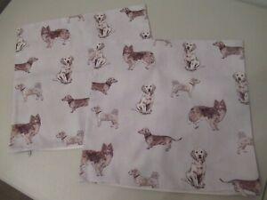Dog cushion covers, pair, grey multi dogs, 16 inch sq. NEW, Dunelm