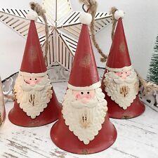 VINTAGE STYLE RED METAL HANGING SANTA HAT BELL SHAPE CHRISTMAS TREE DECORATION