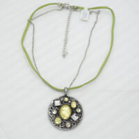 lia sophia jewelry vintage silver tone pendant green leather chain necklace