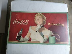 "Vintage Coca-Cola CardboardSign PosterLady Advertising RARE 1949 Litho 36""x20"""
