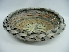 """Gray Oval 9"""" x 7.5"""" Bamboo Basket With Variegated Strips"""
