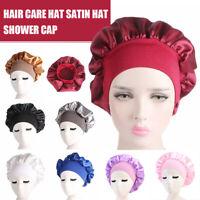 Long Hair Care Satin Bonnet Night Sleep Hat Silk Head Wrap Adjust Shower Cap BJ