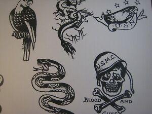 Vintage Tattoo Flash  14'' x 11'' in.  Marines Snake Eagle
