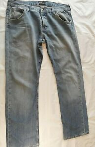 MENS VINTAGE LEE RELAXED STRAIGHT FIT JEANS - LIGHT BLUE  W36 L36 GOOD CONDITION