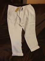 NEXT WOMENS WHITE 100% LINEN TAPER LEG TROUSER WITH POCKETS 16R  BNWT RRP £30