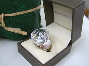 AMAZING MODERNIST HUGE 925 SOLID STERLING SILVER SIMULATED DIAMOND RING SIZE L 6
