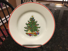"Cuthbertson ""American CHRISTMAS TREE WHITE"" Red Trim, 8.25"" Salad Plate (6 Aval)"