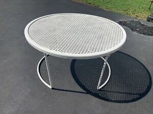 Vtg Wrought Iron Mesh Salterini Style Patio Table Bench Plant Stand~Mid-Century