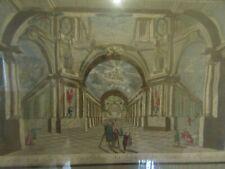VUE d'OPTIQUE XVIIIème  vue des trois galeries du palais des arts engraving