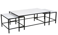 Black iron frame coffee table with 2 nested side tables with a white stone top