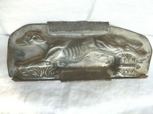 "Large Antique Tin Hinged Chocolate Mold RARE Running Greyhound 8 1/2"" X 3"""
