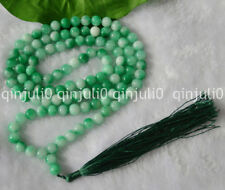 8 mm Natural Verde Jade oración budista tibetano Beads Mala Collar JN483 108