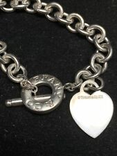 """Tiffany & Co. Sterling Silver 16"""" Heart Tag Toggle Necklace .925 AUTHENTIC chain"""