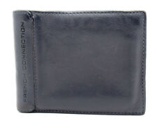 French Connection Mens Leather Card Wallet Bifold Blue