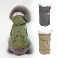 Windproof Dog Winter Coat Hoodie Warm Jacket French Bulldog Clothes Padded S-XXL