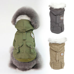 Warm Dog Coat with Fur Hoodie Winter Small Dog Jacket with Thick Fleece Lining