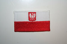 POLAND WITH EAGLE COUNTRY FLAG IRON-ON PATCH CREST BADGE 1.5 X 2.5 INCH