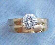 Vintage 14K Yellow Wedding Set, 5.2mm  Diamond, TCW .56 carat, size 6.5
