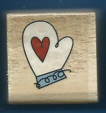 MITTEN HEART Design Holiday Gift Tag NEW Wood Mount Craft Hobby RUBBER STAMP