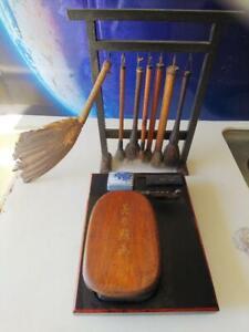 Calligraphy Set Vintage Inkstone & 7 Brush & Brush rack F/S